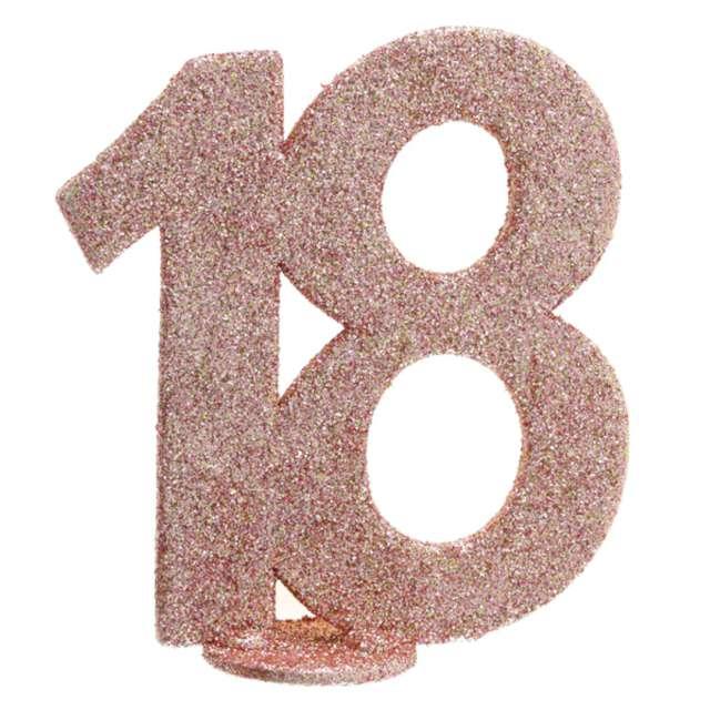 """Dekoracja stojąca """"Brokatowa Liczba 18"""", różowe złoto, Santex, 10 cm"""