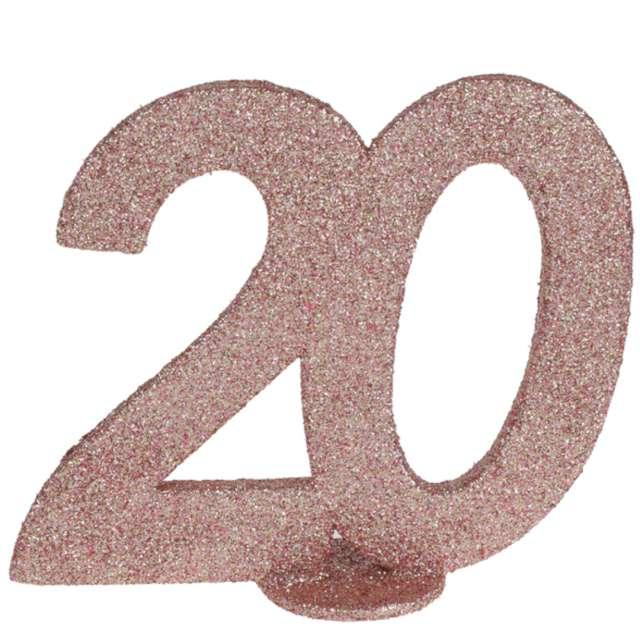 """Dekoracja stojąca """"Brokatowa Liczba 20"""", różowe złoto, Santex, 10 cm"""