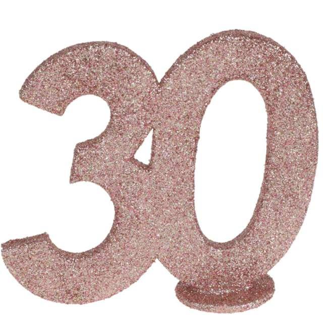 """Dekoracja stojąca """"Brokatowa Liczba 30"""", różowe złoto, Santex, 10 cm"""