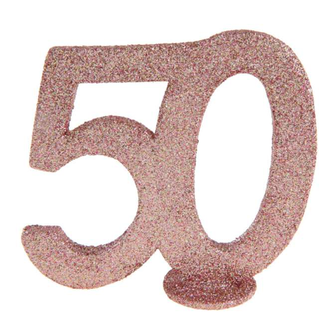 """Dekoracja stojąca """"Brokatowa Liczba 50"""", różowe złoto, Santex, 10 cm"""