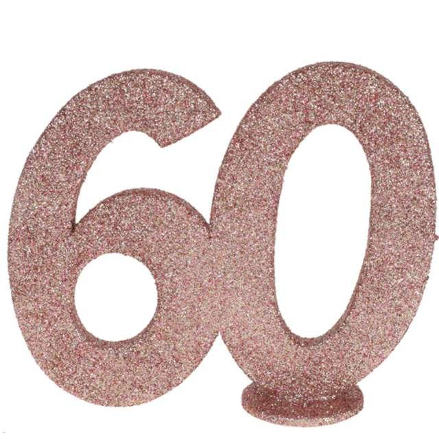 """Dekoracja stojąca """"Brokatowa Liczba 60"""", różowe złoto, Santex, 10 cm"""