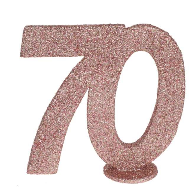 """Dekoracja stojąca """"Brokatowa Liczba 70"""", różowe złoto, Santex, 10 cm"""