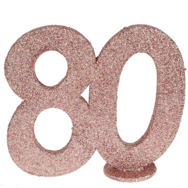 """Dekoracja stojąca """"Brokatowa Liczba 80"""", różowe złoto, Santex, 10 cm"""