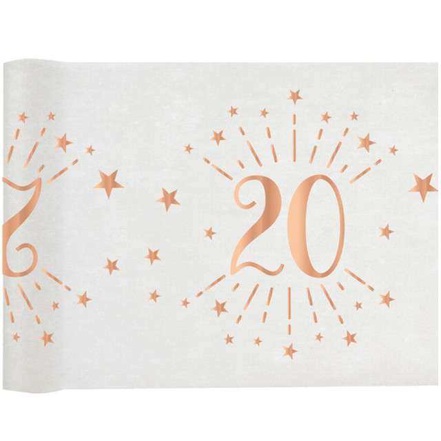 """Bieżnik """"20 urodziny - różowe-złoto, biały"""", SANTEX, 500 x 30 cm"""