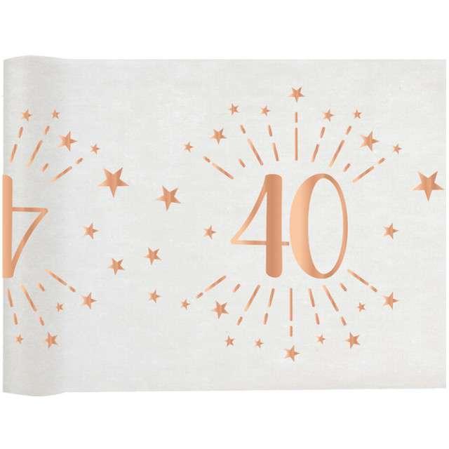 """Bieżnik """"40 urodziny - różowe-złoto, biały"""", SANTEX, 500 x 30 cm"""