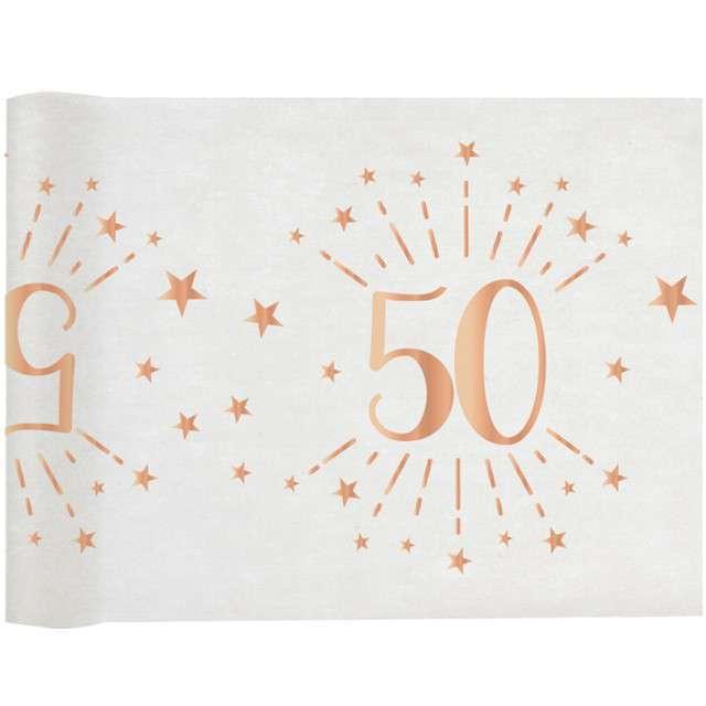 """Bieżnik """"50 urodziny - różowe-złoto, biały"""", SANTEX, 500 x 30 cm"""