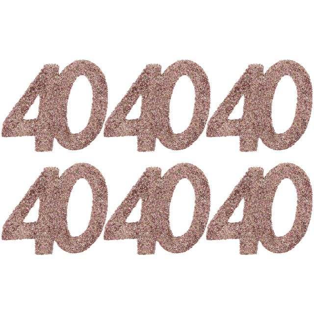 Konfetti Brokatowa liczba 40 różowe złoto Santex 7 cm 6 szt