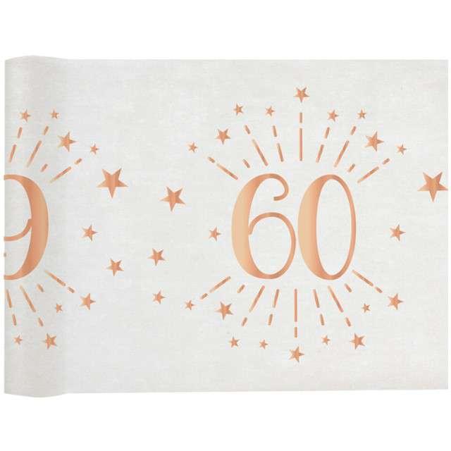 Bieżnik 60 urodziny - różowe-złoto biały SANTEX 500 x 30 cm