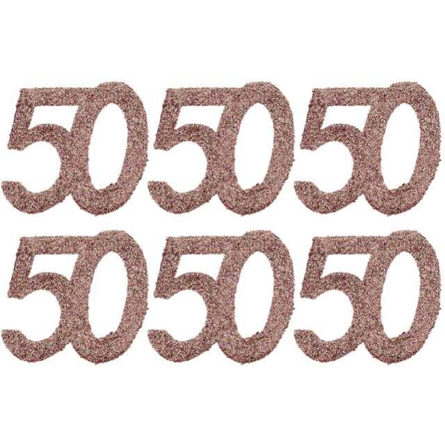 Konfetti Brokatowa liczba 50 różowe złoto Santex 7 cm 6 szt