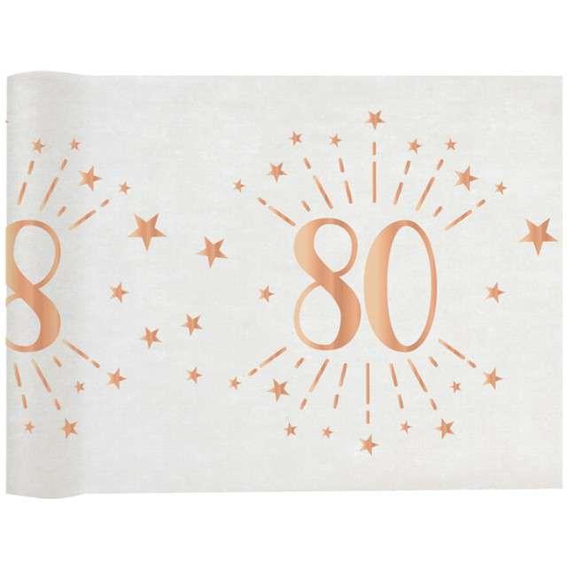 """Bieżnik """"80 urodziny - różowe-złoto, biały"""", SANTEX, 500 x 30 cm"""