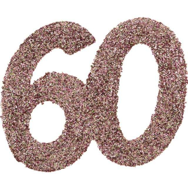 Konfetti Brokatowa liczba 60 różowe złoto Santex 7 cm 6 szt