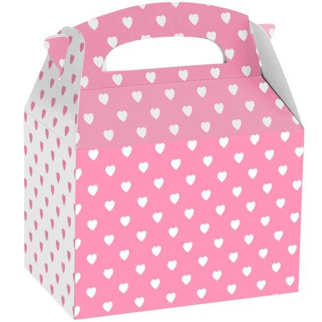 """Pudełka na ciasto """"Classic mini - biało-różowe serduszka"""", Amscan, 5 szt"""