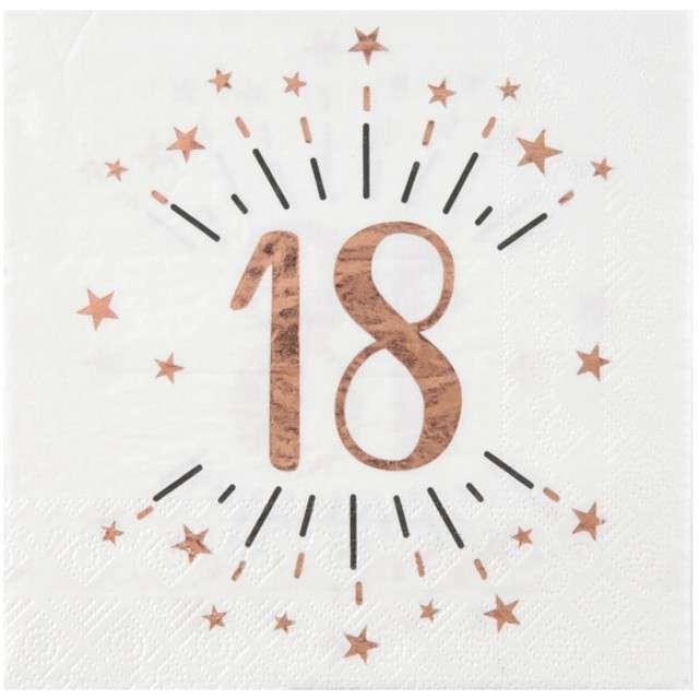 """Serwetki """"18 Urodziny - Gold-Rose"""", SANTEX, białe, 33 cm, 10 szt"""