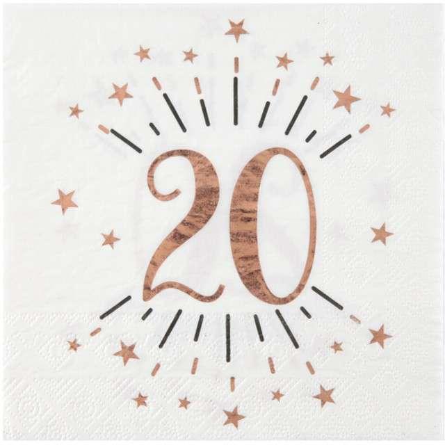 """Serwetki """"20 Urodziny - Gold-Rose"""", SANTEX, białe, 33 cm, 10 szt"""