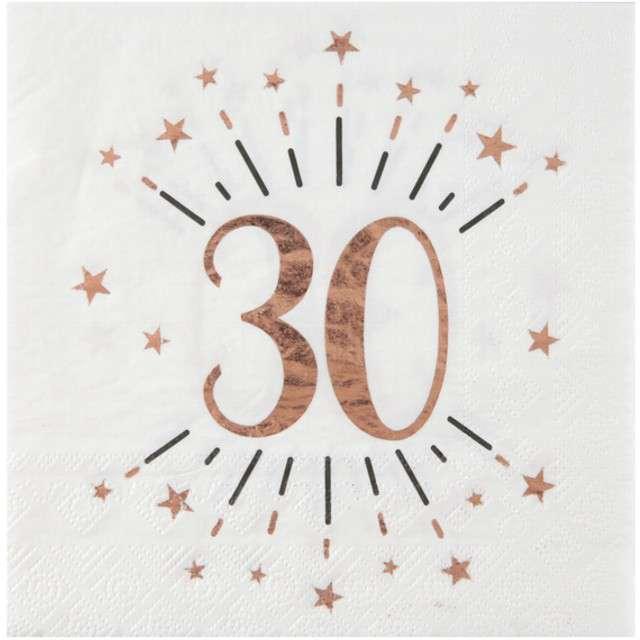 """Serwetki """"30 Urodziny - Gold-Rose"""", SANTEX, białe, 33 cm, 10 szt"""