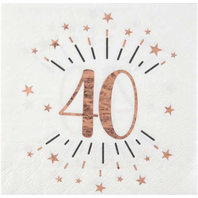 """Serwetki """"40 Urodziny - Gold-Rose"""", SANTEX, białe, 33 cm, 10 szt"""