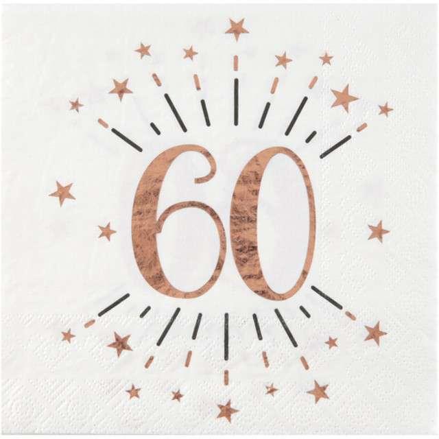 """Serwetki """"60 Urodziny - Gold-Rose"""", SANTEX, białe, 33 cm, 10 szt"""