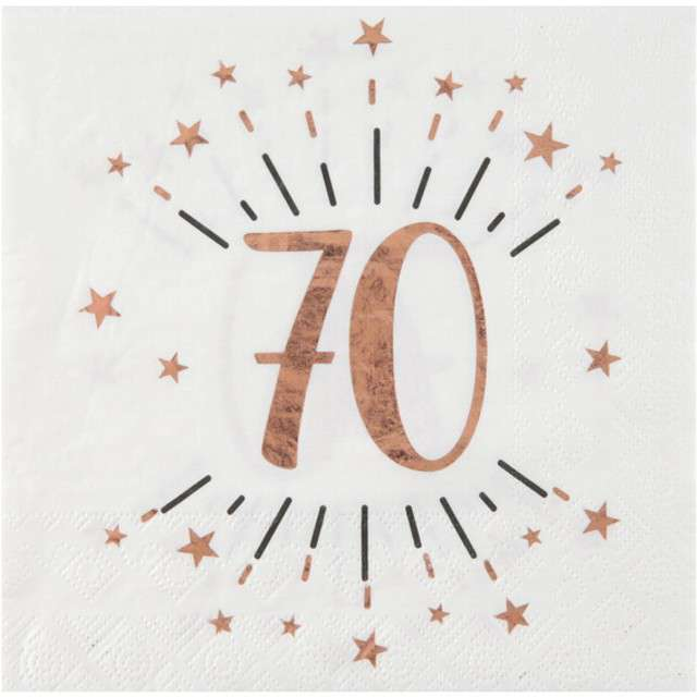 """Serwetki """"70 Urodziny - Gold-Rose"""", SANTEX, białe, 33 cm, 10 szt"""