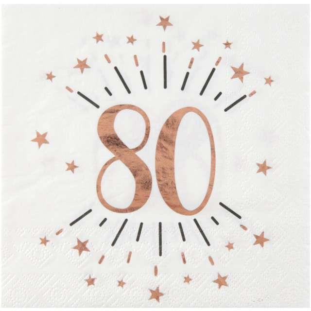 """Serwetki """"80 Urodziny - Gold-Rose"""", SANTEX, białe, 33 cm, 10 szt"""
