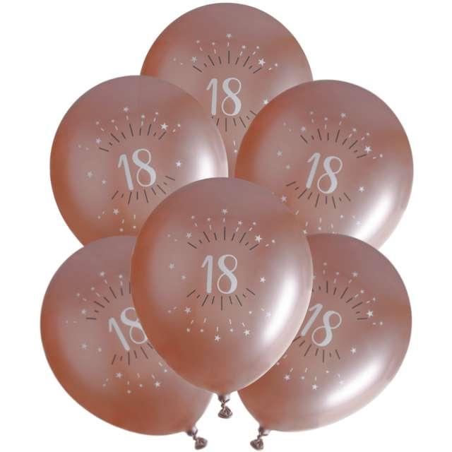 """Balony foliowe """"Sparkling - Liczba 18"""", różowe złoto, Santex, 12"""", 6 szt"""