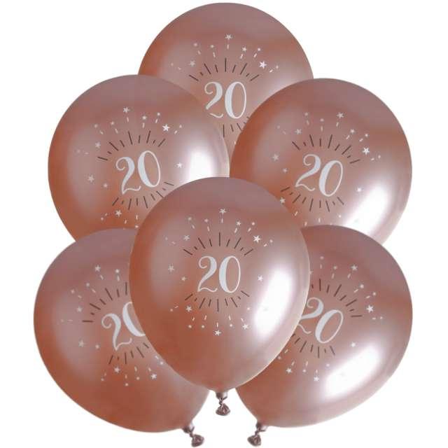 """Balony foliowe """"Sparkling - Liczba 20"""", różowe złoto, Santex, 12"""", 6 szt"""