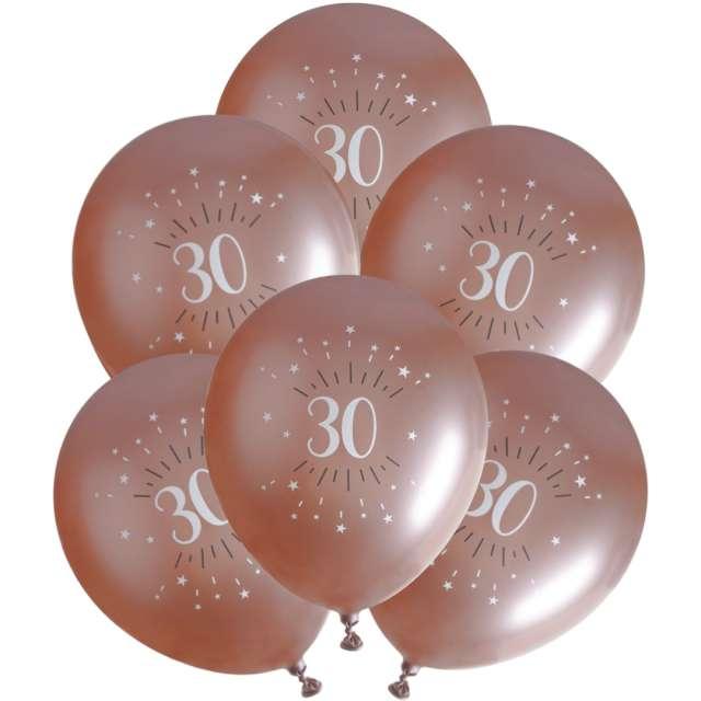 """Balony foliowe """"Sparkling - Liczba 30"""", różowe złoto, Santex, 12"""", 6 szt"""