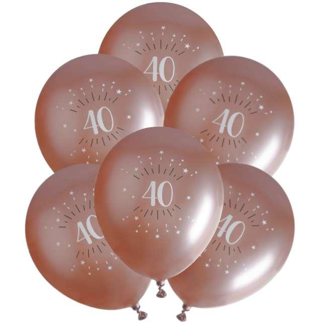 """Balony foliowe """"Sparkling - Liczba 40"""", różowe złoto, Santex, 12"""", 6 szt"""