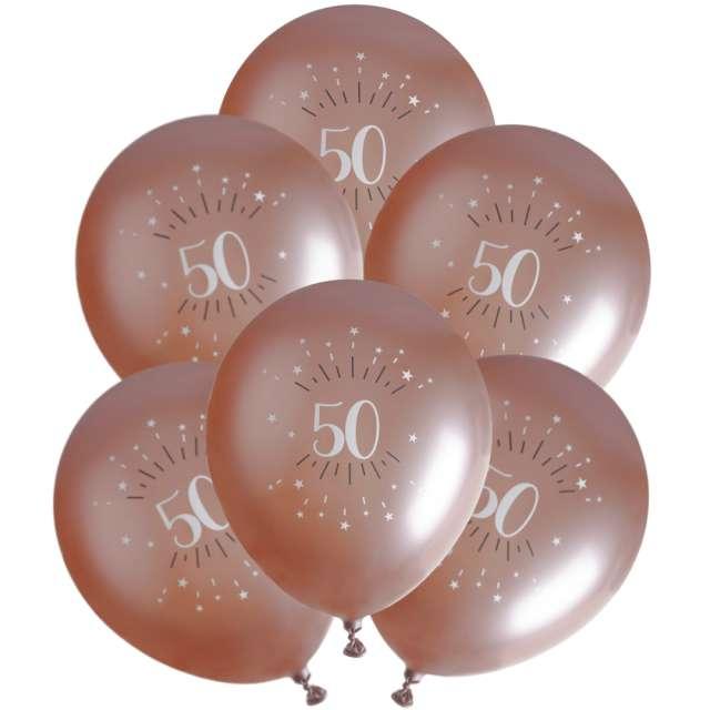 """Balony foliowe """"Sparkling - Liczba 50"""", różowe złoto, Santex, 12"""", 6 szt"""