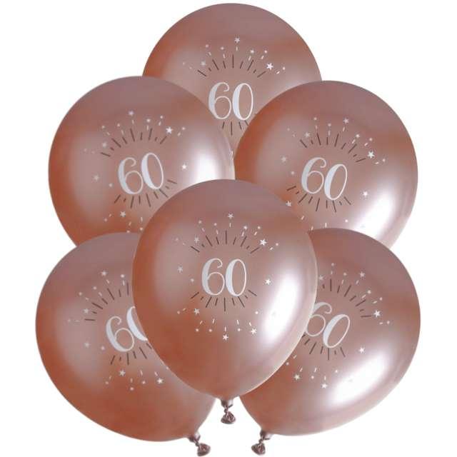 """Balony foliowe """"Sparkling - Liczba 60"""", różowe złoto, Santex, 12"""", 6 szt"""