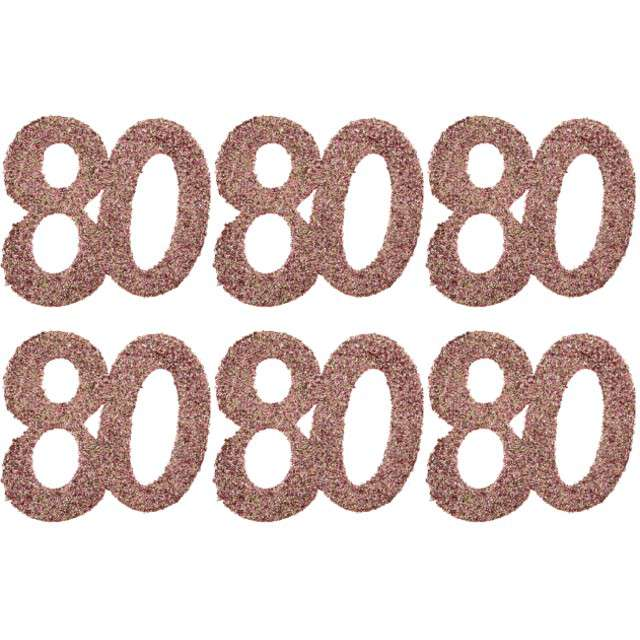 Konfetti Brokatowa liczba 80 różowe złoto Santex 7 cm 6 szt