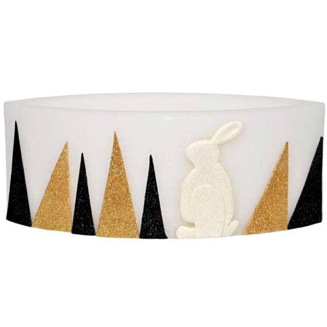 """Lampion """"Wielkanocna łezka - złoto-czarne pasy"""", biały, Adpal, 110/290  mm"""