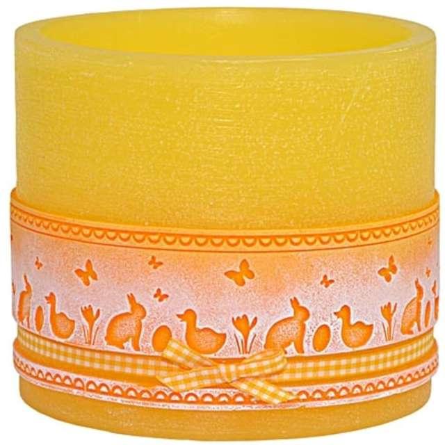 """Lampion """"Wielkanocny owal - koronka"""", żółty, Adpal, 135/145  mm"""