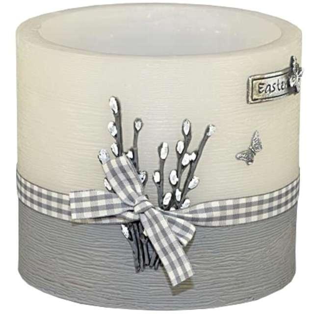 """Lampion """"Wielkanocny owal - bazie"""", biało-szary, Adpal, 135/145  mm"""