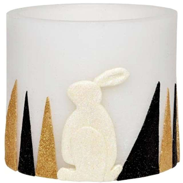 """Lampion """"Wielkanocny owal - złoto czarne pasy"""", biały, Adpal, 135/145  mm"""