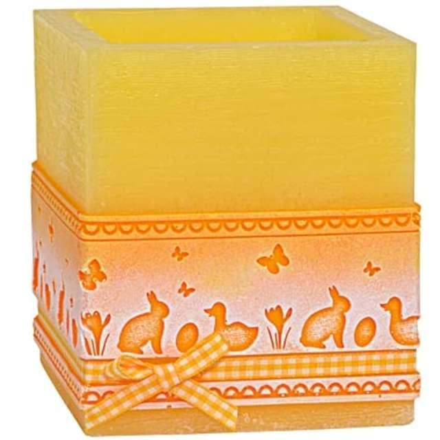 Lampion Wielkanocna kostka - koronka żółta Adpal 115/100  mm