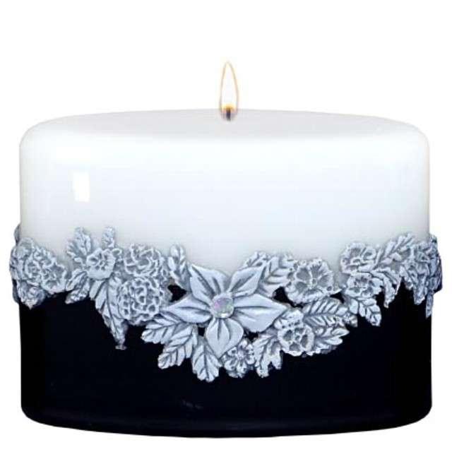 Świeca Elipsa - Kwiaty biało-czarna Adpal