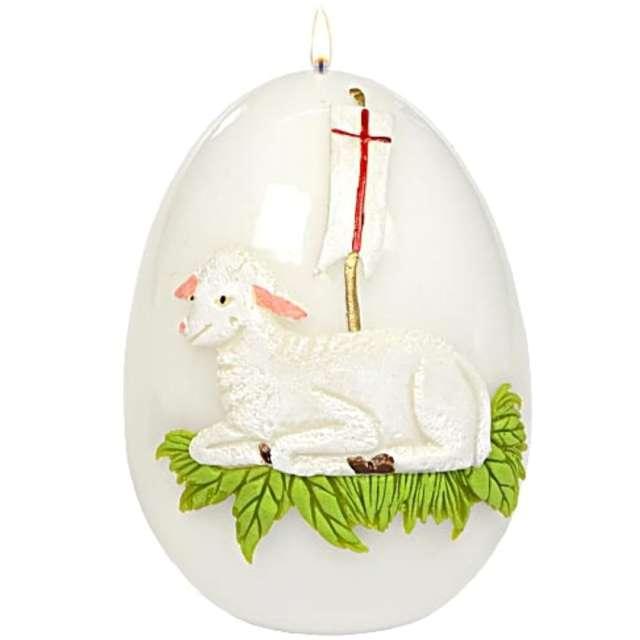 """Świeca """"Wielkanocne jajko z barankiem"""", biała, Adpal, 14cm"""
