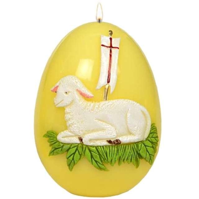 """Świeca """"Wielkanocne jajko z barankiem"""", żółta, Adpal, 14cm"""