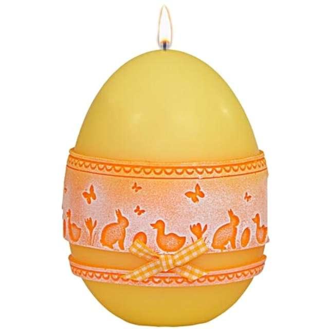 Świeca Wielkanocne jajko z koronką żółta Adpal 14cm