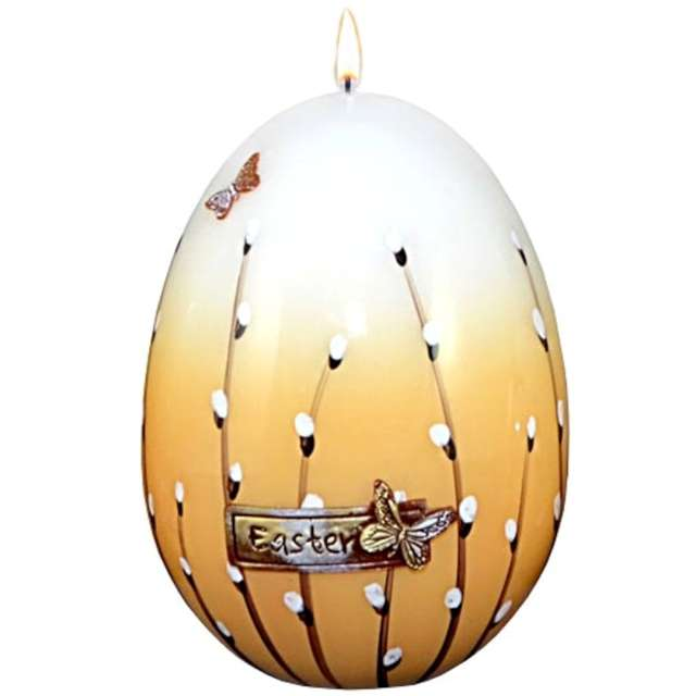 """Świeca """"Wielkanocne jajko z baziami"""", biało-brązowa, 14cm"""