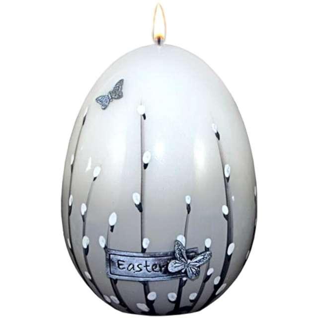 """Świeca """"Wielkanocne jajko z baziami"""", szara, Adpal, 14cm"""