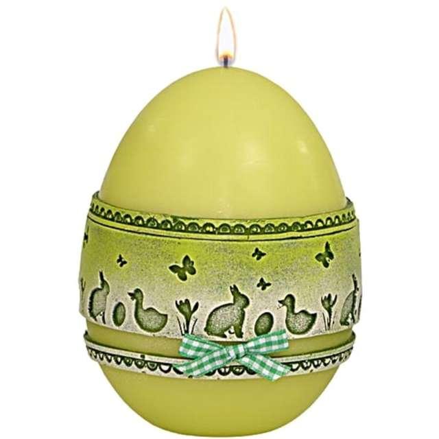 """Świeca """"Wielkanocne jajko z koronką"""", zielona, Adpal, 14cm"""
