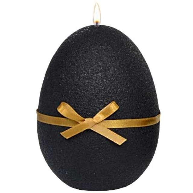 """Świeca """"Wielkanocne jajko z kokardką"""", czarna, Adpal, 14cm"""