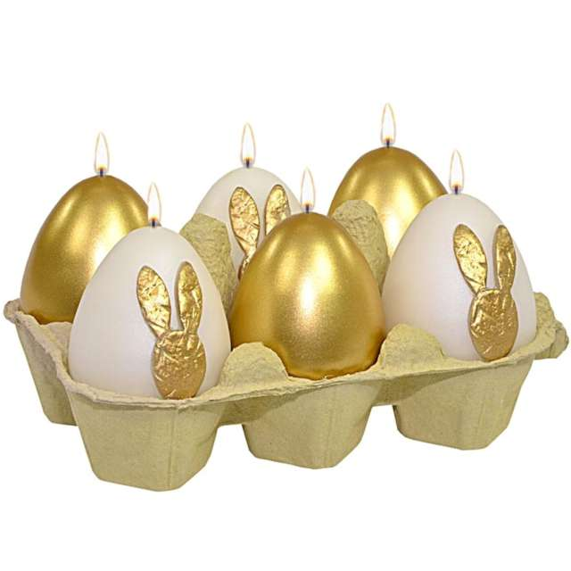 """Świece """"Wielkanocne jajka MIX"""", biało-złote, Adpal, 6cm, 6szt"""