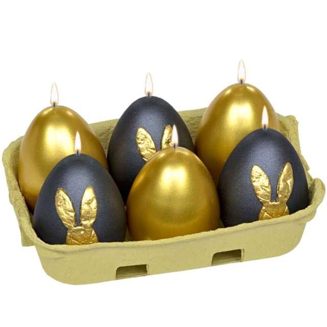 """Świece """"Wielkanocne jajka MIX"""", czarno-złote, Adpal, 6cm, 6szt"""