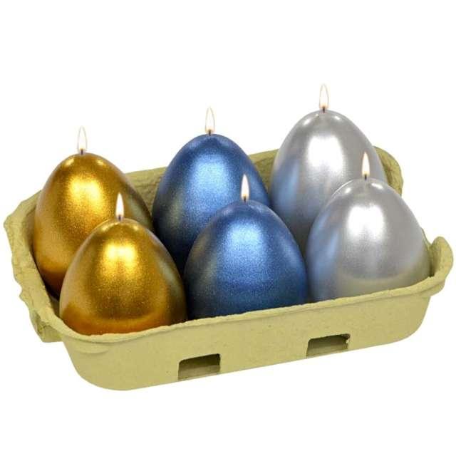 """Świece """"Wielkanocne jajka MIX"""", srebrno-złoto-granatowe, Adpal, 6cm, 6szt"""