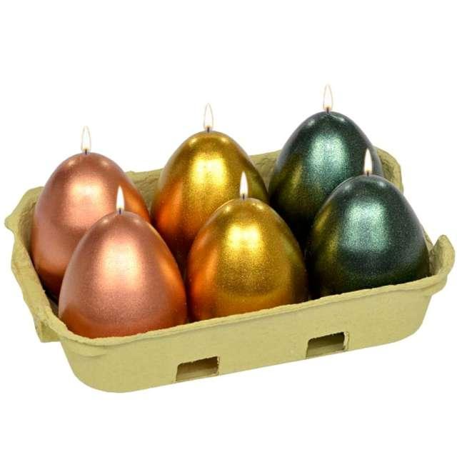 """Świece """"Wielkanocne jajka MIX"""", miedziano-złoto-zielone, Adpal, 6cm, 6szt"""