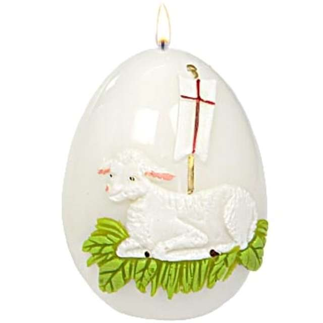 """Świeca """"Wielkanocne jajko z barankiem"""", biała, Adpal, 9cm"""