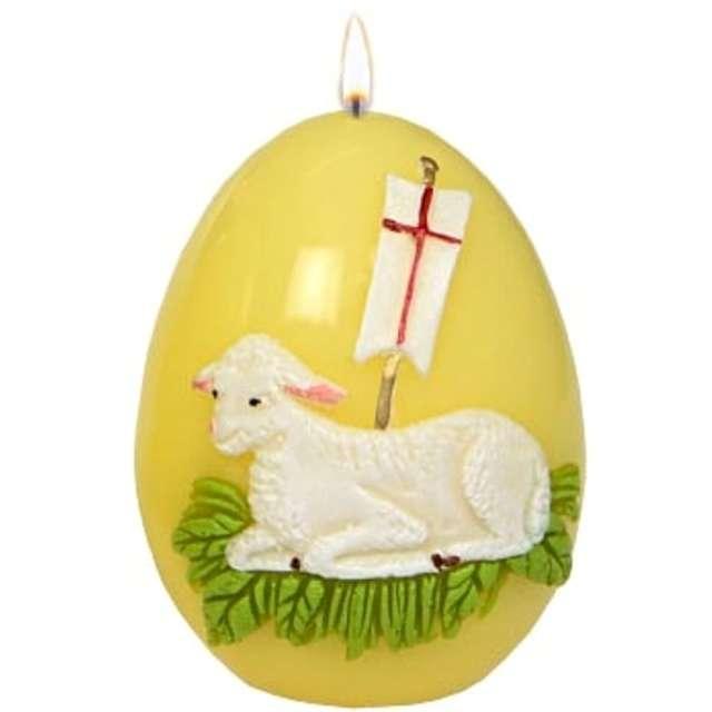 """Świeca """"Wielkanocne jajko z barankiem"""", żółta, Adpal, 9cm"""