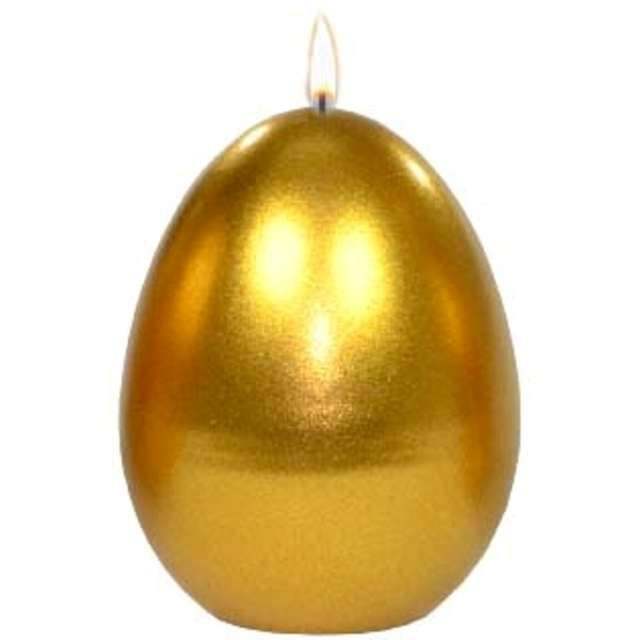 """Świeca """"Wielkanocne jajko metalic"""", złota, Adpal, 9cm"""